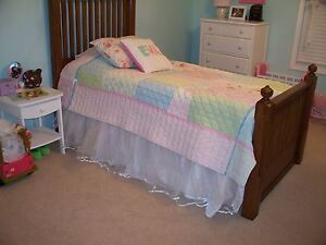 GORGEOUS White Tulle Bed skirt Girl Handmade Like Pottery Barn Kids Twin Queen