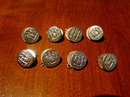 8 Vintage Obsolete State Seal Of New Jersey Police Buttons Uniform Waterbury