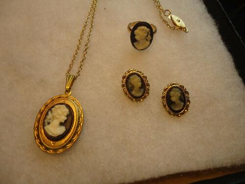 Vintage/nos gold tone black white Cameo lot-GP earrings
