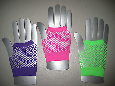 Girls Gloves Fishnet Fingerless Dress Up Dance Party Favor Fun Neon One Size