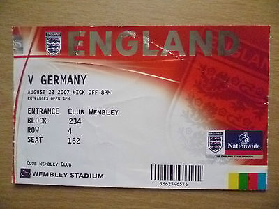 2007 Tickets Stubs- ENGLAND v GERMANY, 22 August