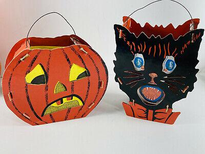 VTG STYLE Modern Halloween Pair (2) Bethany Lowe Pumpkin Black Cat Pail Baskets