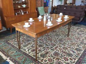 Mid Century era wishbone leg dining table by Rudowski Danish style