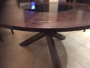 Solid wood designer lazy Susan glass table / kitchen table