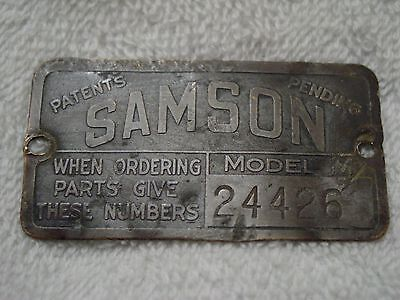 Rare 1919-23 Model M Samson Tractor Serial Number Platetag Gm Janesville Wi