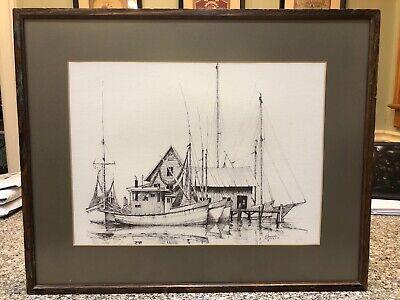 """Vintage Docked Fishing Boat Framed / Matted Print By A SHEMROSKE 1969 11""""x15"""""""