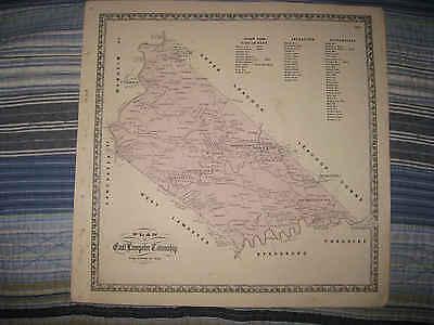 ANTIQUE 1864 BIRD IN HAND ENTERPRISE EAST LAMPETER TOWNSHIP PENNSYLVANIA MAP NR
