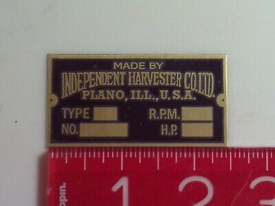 Independent Harvester Plano Engine Name Tag Reproduction Nameplate