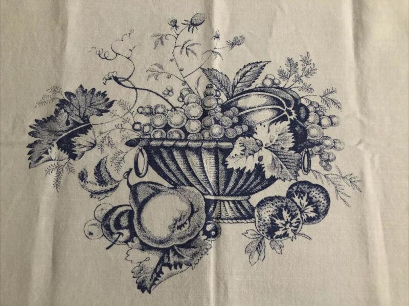 """Libeco Belgium Linen Dish Towel Fruit Bowl White Porcelain Blue 24x23"""""""