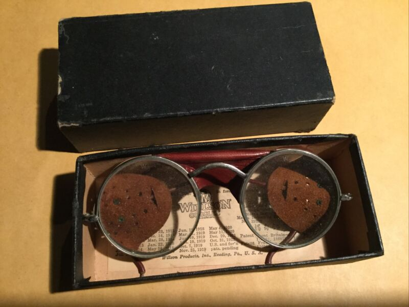 Vintage Willson Leather Goggles Safety Glasses In Box Motorcycle Steampunk
