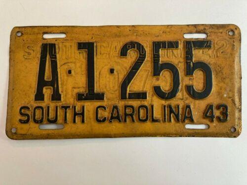 1943 South Carolina License Plate WWII Restamped 1942 ALL ORIGINAL PAINT RARE