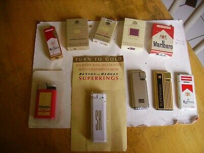 Collectible group of 10 vintage advertising gas pocket cigarette lighters.