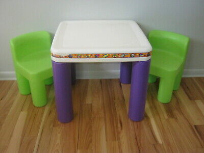 Little Tikes Table Chair Set Purple Green Child Size Furniture Chunky
