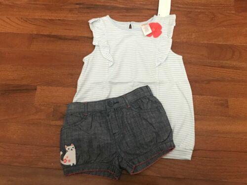 NWT Gymboree Cherry Blossom Light Blue Striped Top & Cat Denim Shorts Size 4 4T