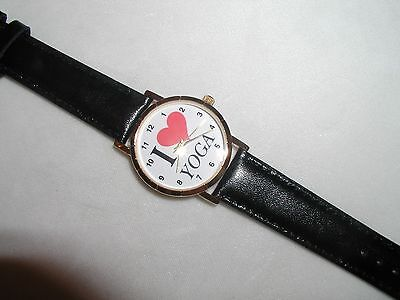 I LOVE YOGA WATCH GREAT CHRISTMAS GIFT LEATHER BAND SPORTS EXCERCISE NEW !