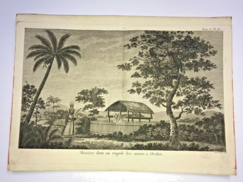 TAHITI FUNERAL MONUMENT 1780 JAMES COOK LARGE ANTIQUE ENGRAVED VIEW 18TH CENTURY