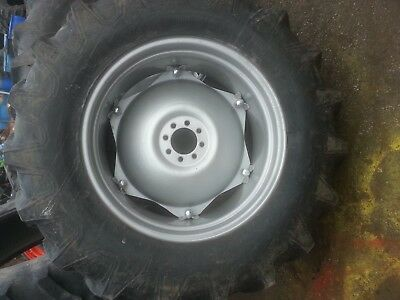 Two 14.9x28 14.9-28 Ford Tractor 4000 Tires W6 Loop Wheels With Centers
