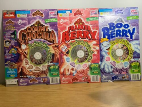 3 Different Halloween Cereal Boxes w 3 CD