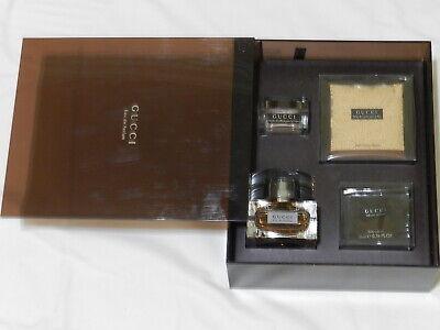 Vintage Gucci Gift Set Brown 1.7 Oz Parfum Lotion Bath Pearls Powder NIB