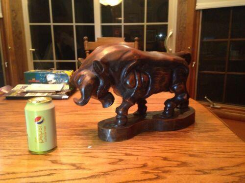 Vintage Carved Wooden Bull Statue Figurine