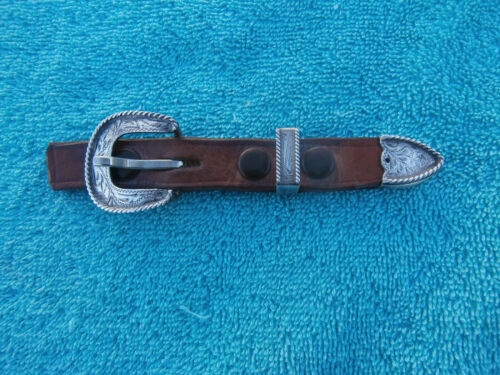 Sterling Silver Fleming Rope Edge 3 pc. Buckle Set for 5/8 in. strap