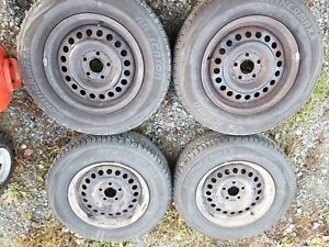 4 - 195/70/14 All Seasons Barely used on 5x100 steel wheels