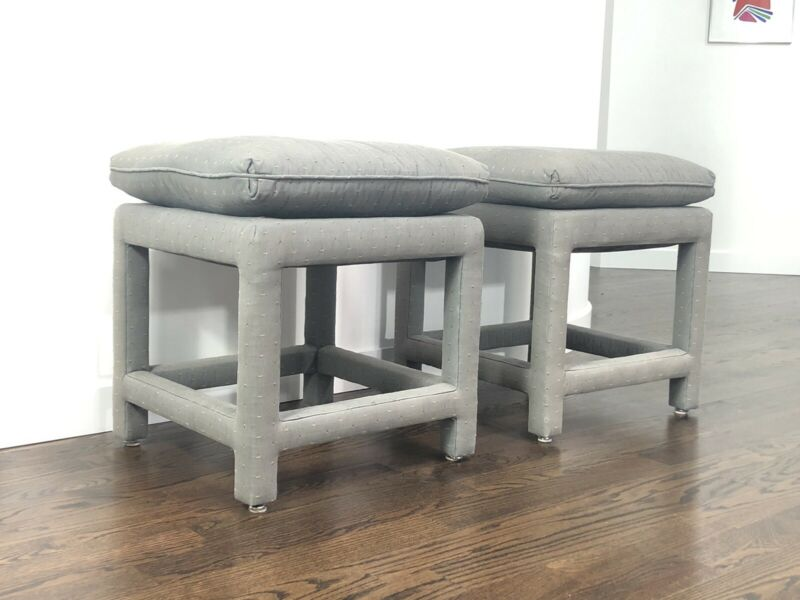 Pair Of Modern Milo Baughman Parsons Style Ottomans/ Stools