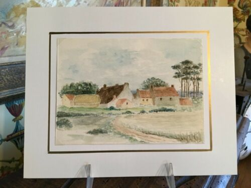 Original English Watercolor Painting English Countryside Vintage