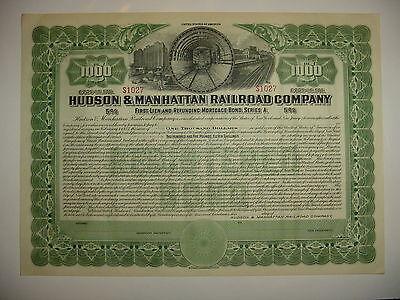Hudson & Manhattan Railroad Company Bond Stock Certificate New York Jersey Green