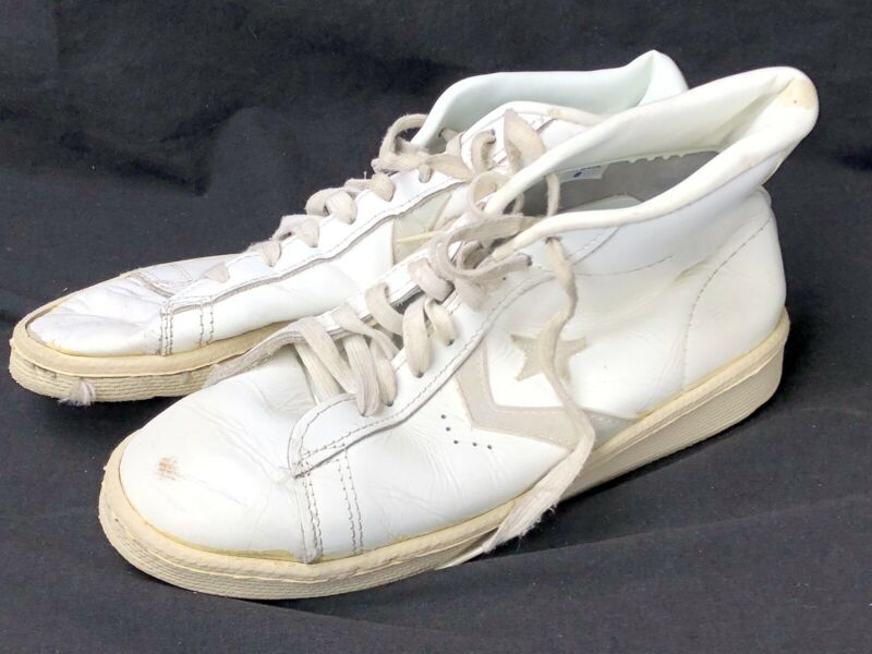 Vintage Converse All Star Shoes Pro Star Sz 8 White Natural As-Is Hi Top Leather