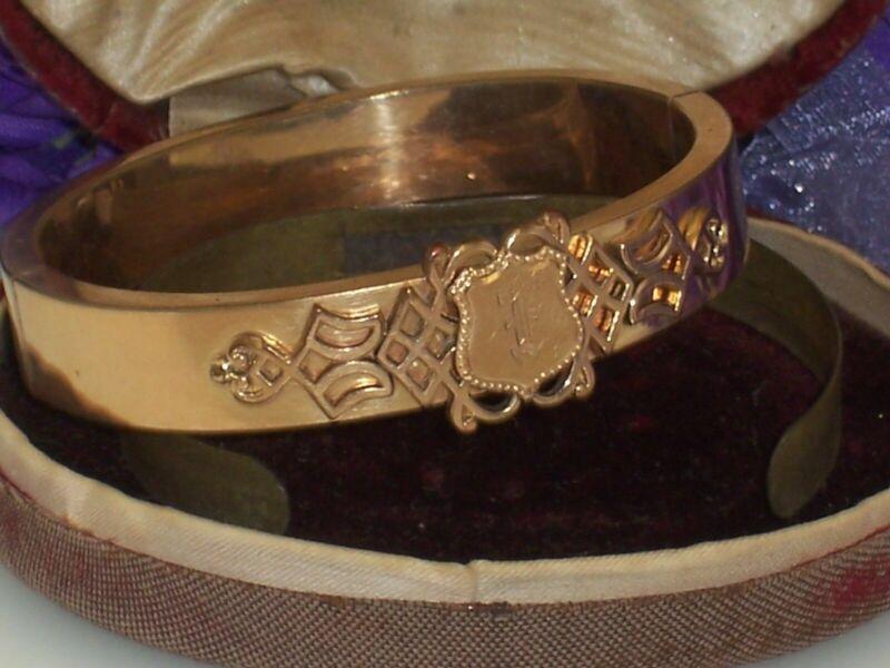 Antique Rose Gold Filled Victorian Hinged Bangle Bracelet Cartouche Original Box