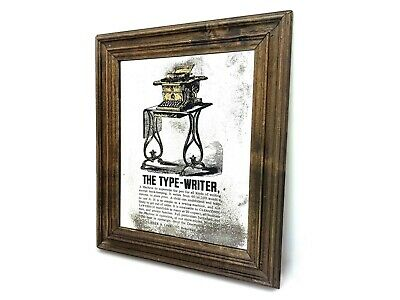 SHOLES & GLIDDEN TYPEWRITER Reverse Glass Mirror Advertising Sign Antique Vtg