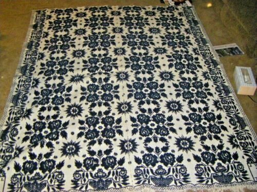 """Antique 1845 Hand Woven Family Hand Down Coverlet 68"""" x 82"""""""