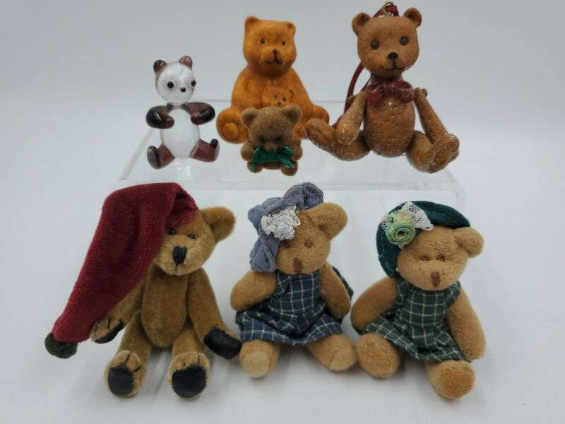 Vintage Miniature Assorted Bears, Stuffed, Jointed, Ceramic, Glass Lot of 7