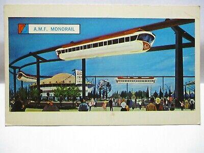 1964 N.Y. WORLDS FAIR PROMO POSTCARD A.M.F. MONORAIL BIO ENGLISH, FRENCH SPANISH