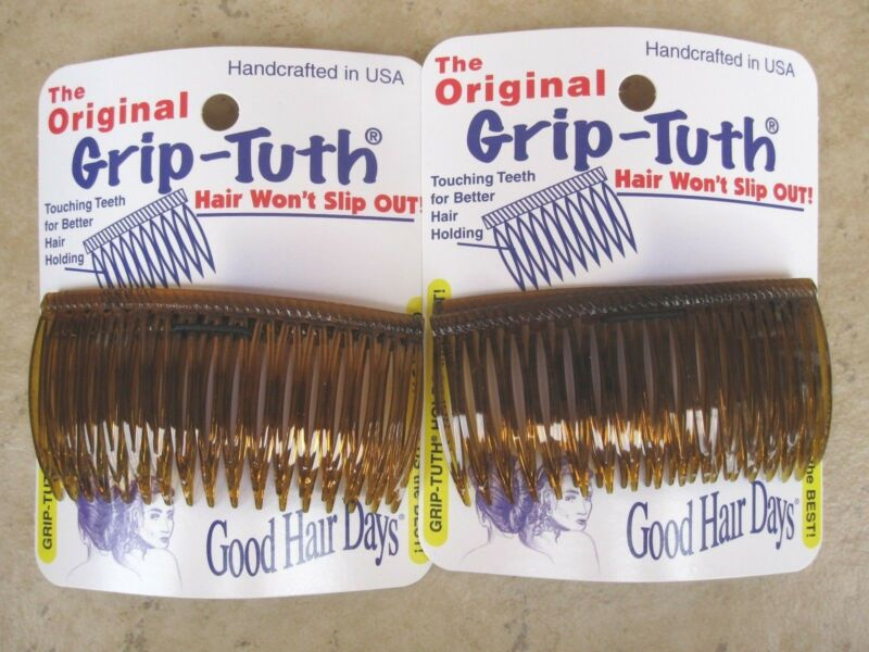 """2 Sets of 2 Shell Grip Tuth Side Combs = 4 each  3 1/4""""  USA Good Hair Days #417"""