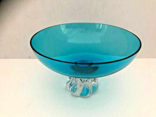 GLASS DECORATIVE BOWL TURQUOISE VINTAGE