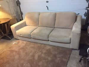 Free delivery: beige suede 3 seater couch