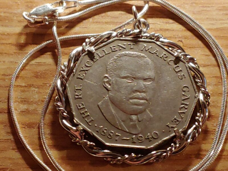 "1987 MARCUS GARVEY JAMAICA Coin Pendant on a 16"" .925 Italian Silver Chain. 33mm"