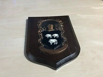 Vintage Wooden & Cooper Plaque Family Crest Shield Hines ?