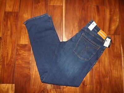 Calvin Klein Mens Aude Blue Jeans Dark Wash Straight Denim Pants 32 W 30 L NWT