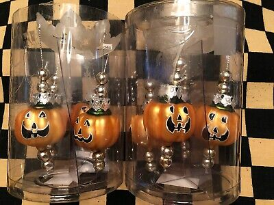 Hand blown pumpkins / Halloween / chandelier/candle stick decoration set of 4