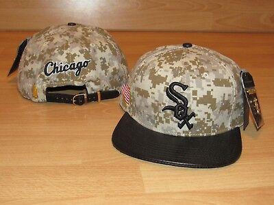 Sox Mens Leather - Chicago White Sox Pro Standard Leather Digital Camo Flag Strapback hat cap Men's