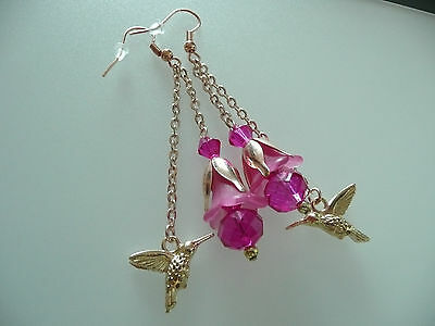 Vintage Art Deco Style Fuschia Crystal, Hummingbird, Lucite Flower Long Earrings