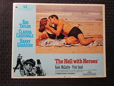 "1968 THE HELL WITH HEROES Original 14x11"" Lobby Card #1 VG- 2.5 Rod Taylor"
