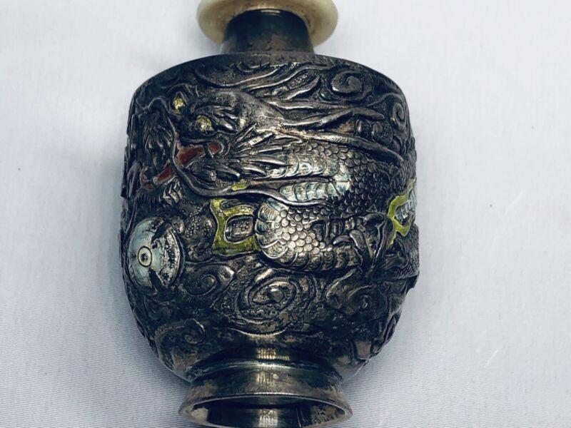 19th Chinese Qing Silver Enamel Dragon Snuff Bottle