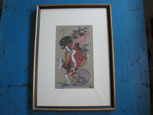 """RARE ORIGINAL PAINTING """"THE LAST JUMP"""" BY QUINCY TAHOMA SIGNED AND DATED 1954"""
