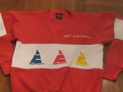 Vintage 80S San Francisco Sweatshirt Unisex Tourist Memorabilia Stripe Boats S M