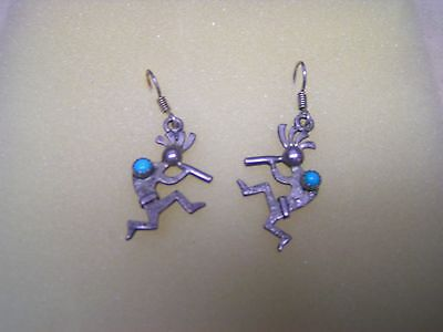 Native American Sterling Silver Kokopelli Earrings with Turquoise Southwestern