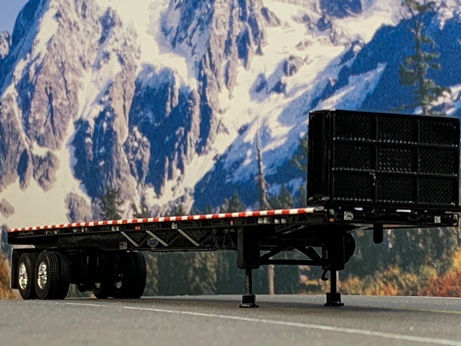 1/64 DCP BLACK 53' WILSON ROAD BRUTE TANDEM AXLE FLATBED TRAILER W/ BULKHEAD 1